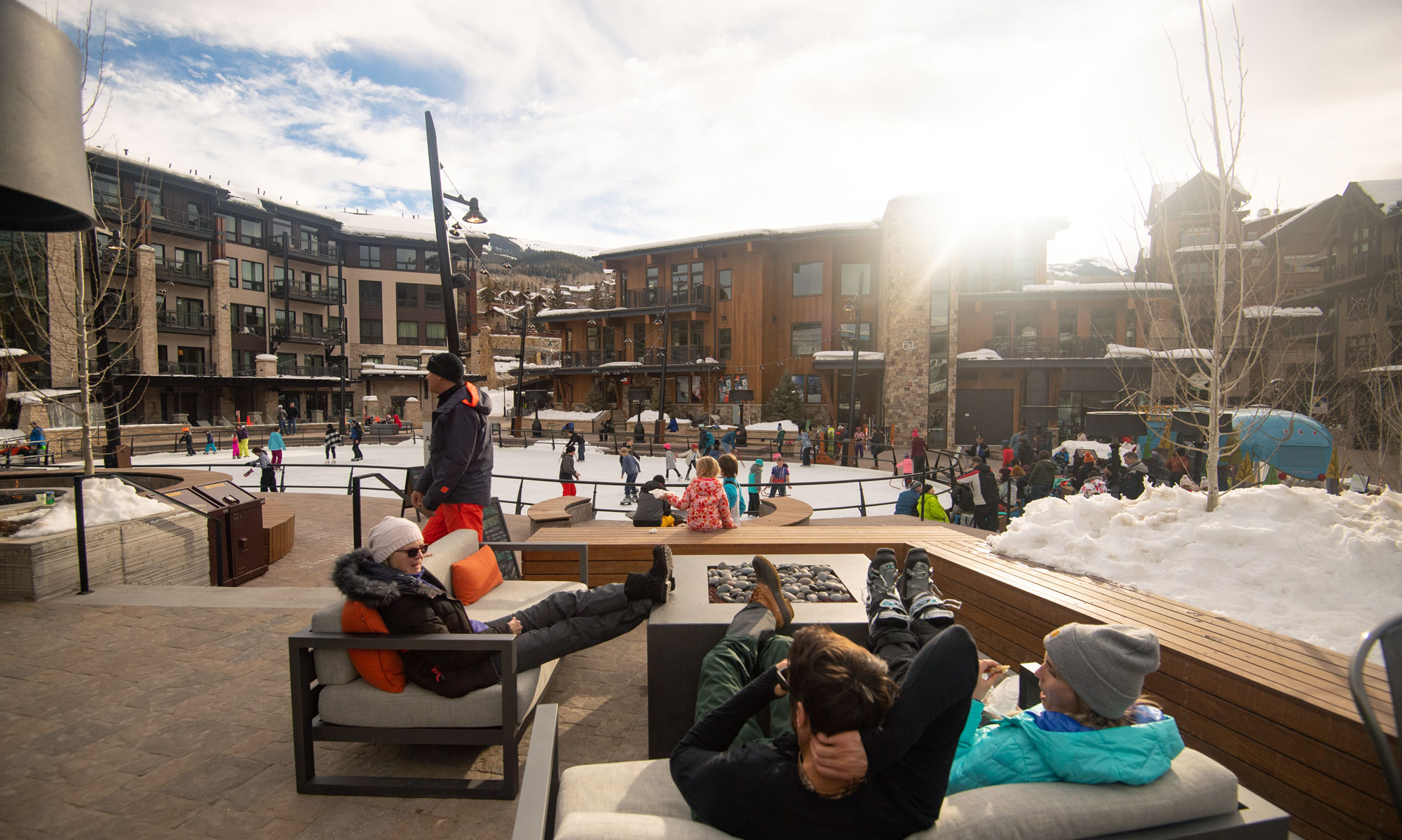 Lounging at Base Village, Snowmass