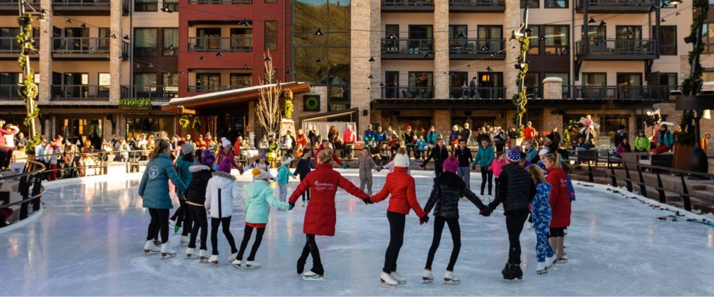 Snowmass Base Village for kids & families - ice rink
