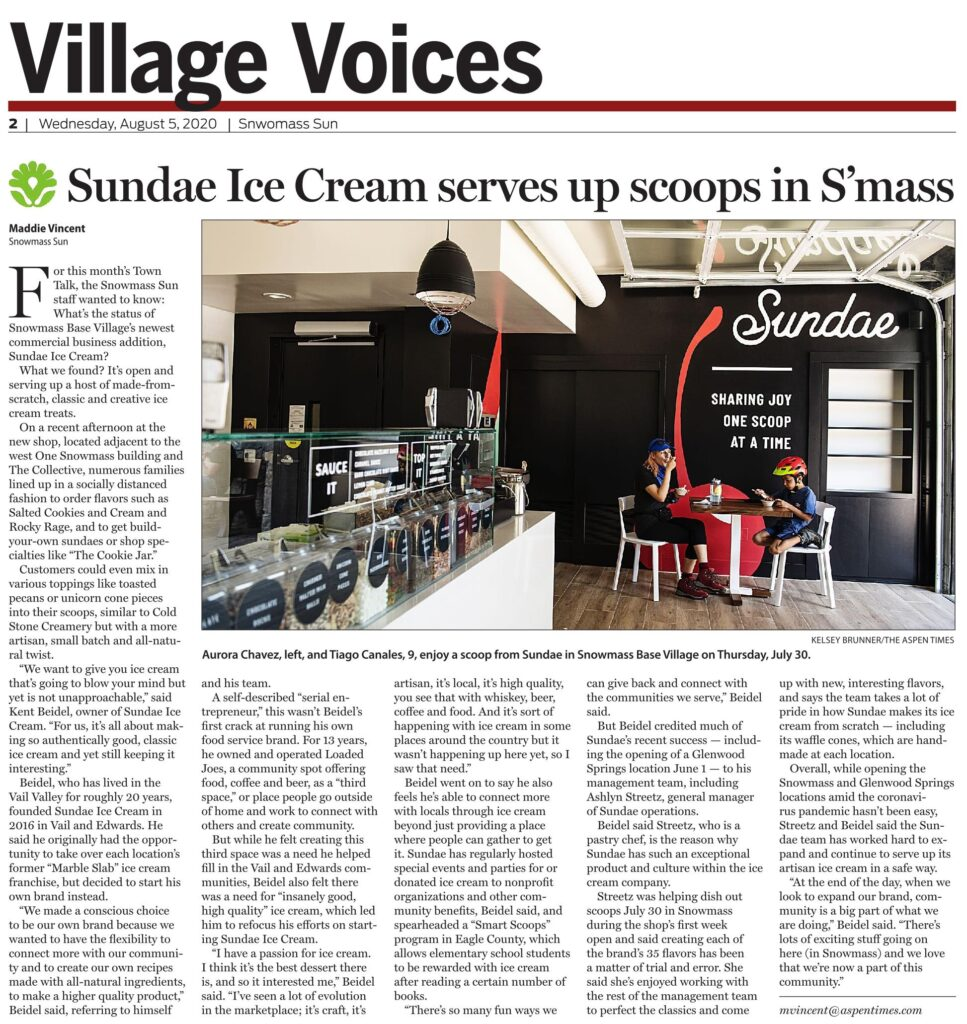 Sundae Serves Up Scoops in Snowmass Base Village